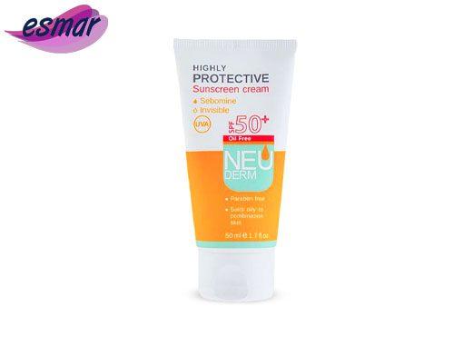 کرم ضد آفتاب نئودرم بی رنگ فاقد چربی مناسب پوست چرب و مختلط SPF50
